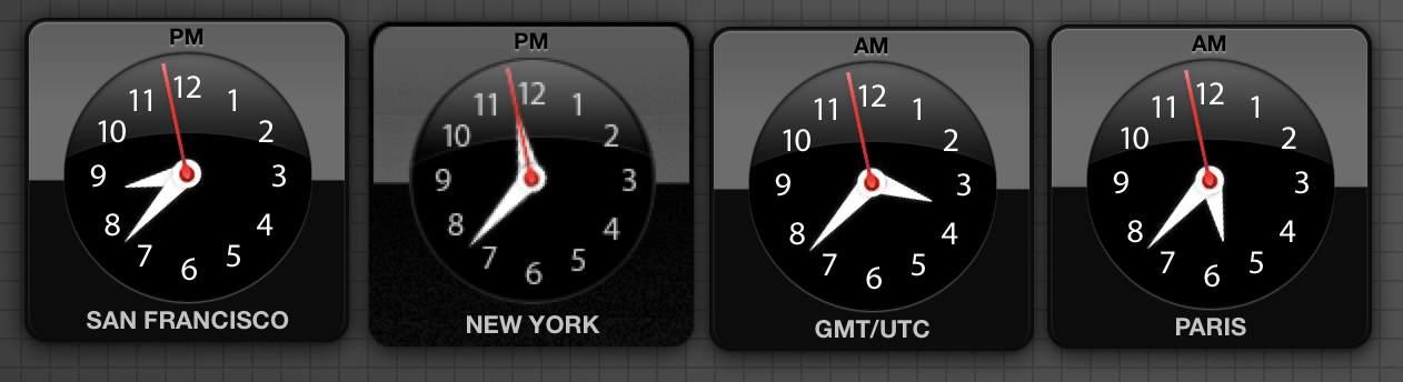 My dashboard clock widgets